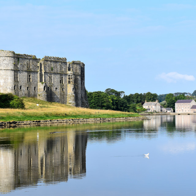 """""""Carew Castle and Mill on an August morning"""" stock image"""