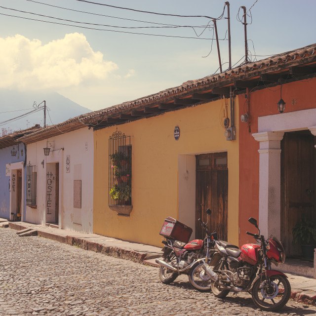 """""""Motorcycles, Antigua"""" stock image"""