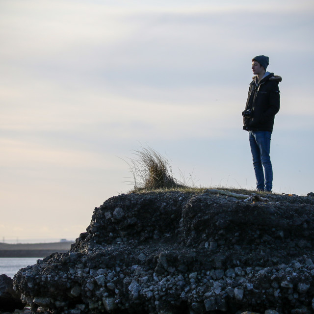 """""""Photographer admiring the view"""" stock image"""