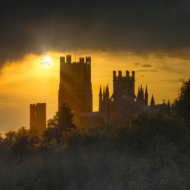 """""""Ely Cathedral Sunset."""" stock image"""