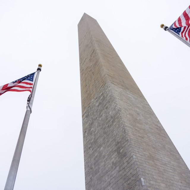 """Flags in front of the Washington Monument in Washington D.C."" stock image"