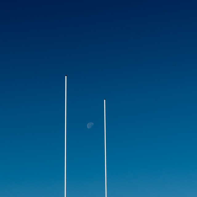 """""""A morning Moon through Rugby Posts"""" stock image"""