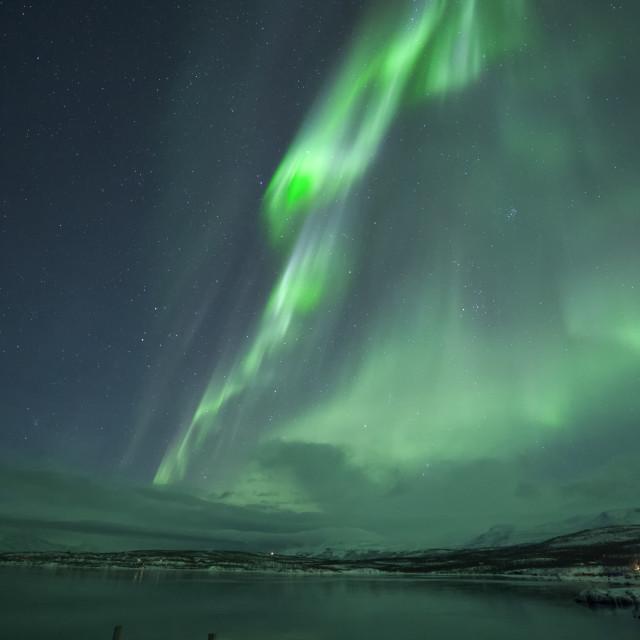 """Aurora Borealis dancing over Abisko in Northern Sweden"" stock image"