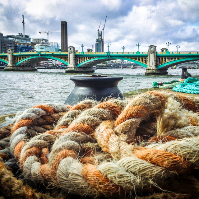 """Thames river and ropes"" stock image"