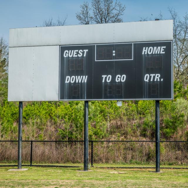 """""""Blank scoreboard in a soccer field"""" stock image"""