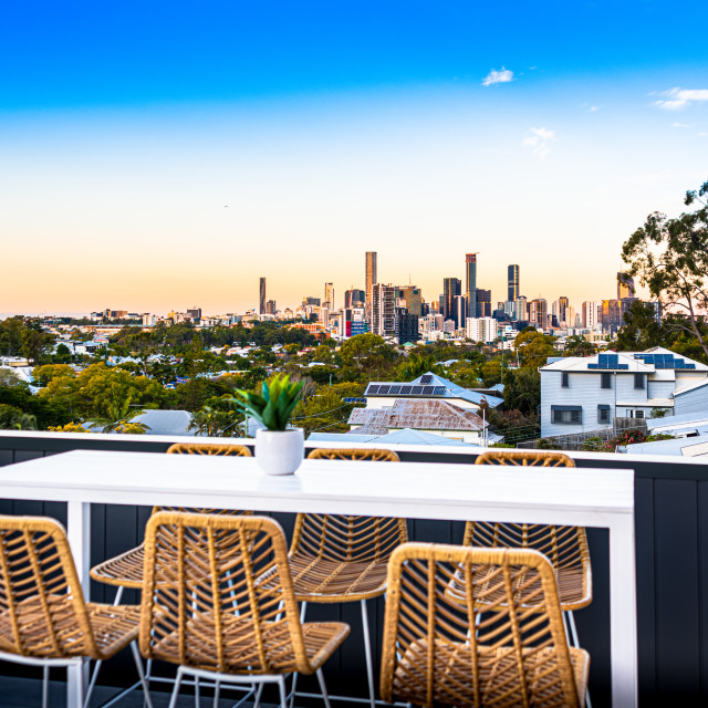 """Luxury Home Rooftop City Views"" stock image"