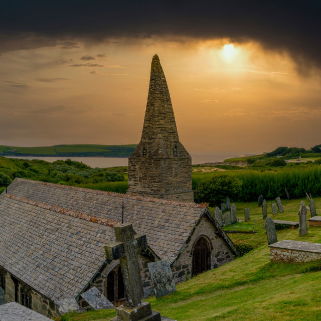 """The Church in the Sands - St Enodoc Church near Polzeath, North"" stock image"