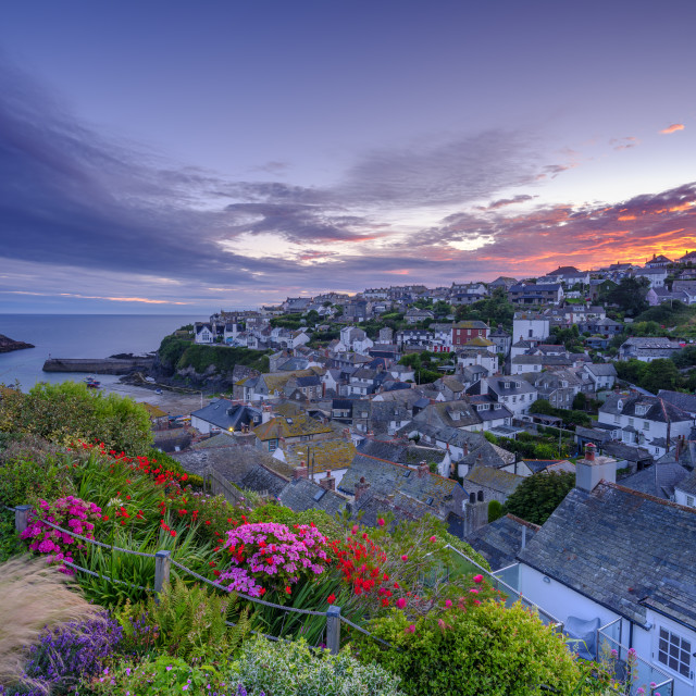 """Sunrise over Port Isaac, Cornwall"" stock image"