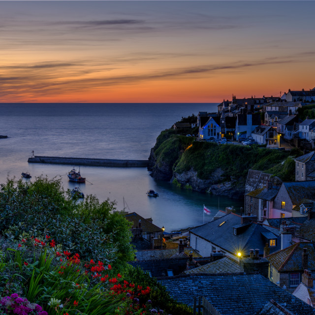 """Port Isaac summer evening sunset - a composite time blend"" stock image"