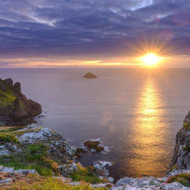 """Summer sunset over The Rumps and Pentire Head on the North Coast"" stock image"