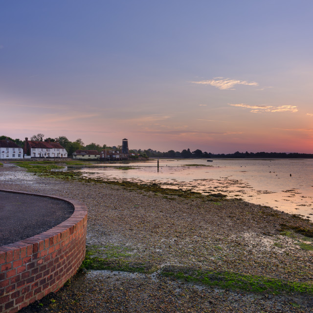 """Sunrise on Langstone Mill"" stock image"