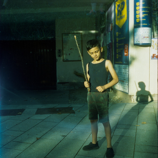 """""""Boy with a sword"""" stock image"""