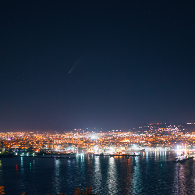 """Night view toward Varna, Bulgaria. Seascape with reflection of c"" stock image"