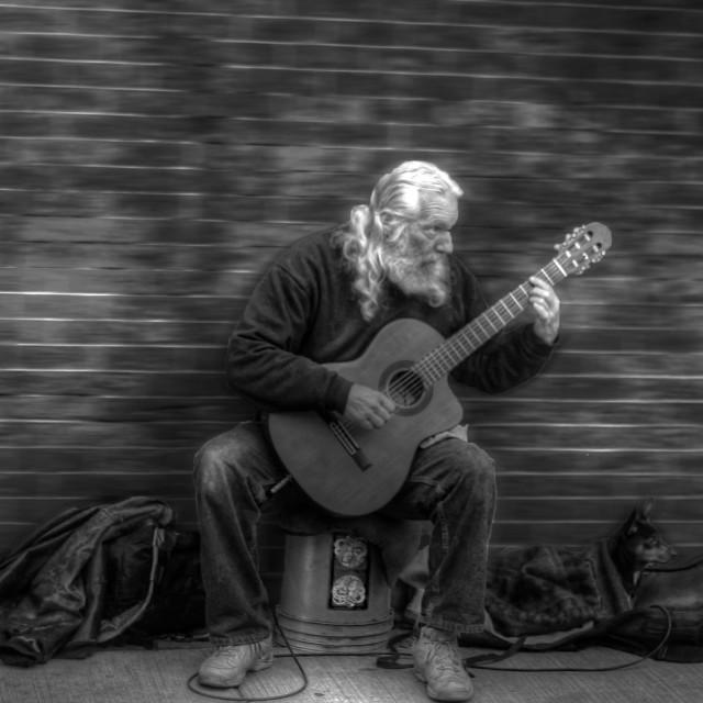"""The street Guitarist"" stock image"