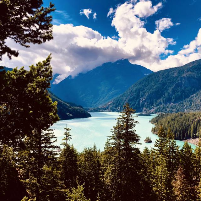 """Mountain Lake Vista"" stock image"
