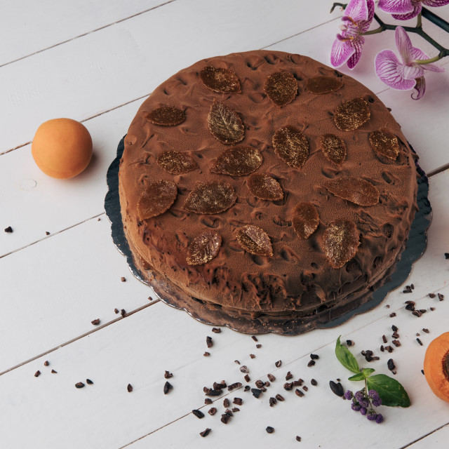 """Chocolate homemade cake with nuts and apricot jelly on wooden ba"" stock image"