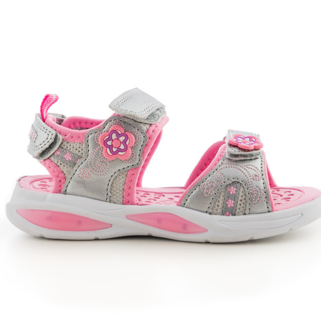 """Baby girl summer sandals on white background. Kid sport shoes."" stock image"