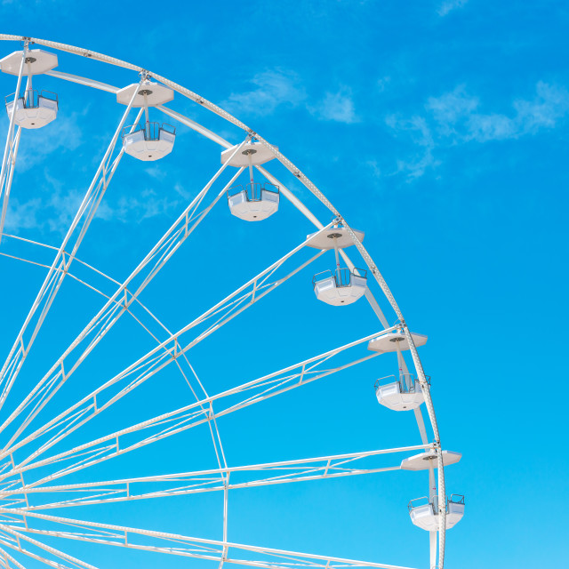 """Ferris Wheel with Blue Sky and clouds"" stock image"