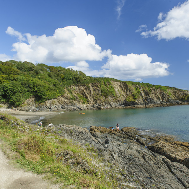"""Polridmouth and Southground Point, Cornwall"" stock image"