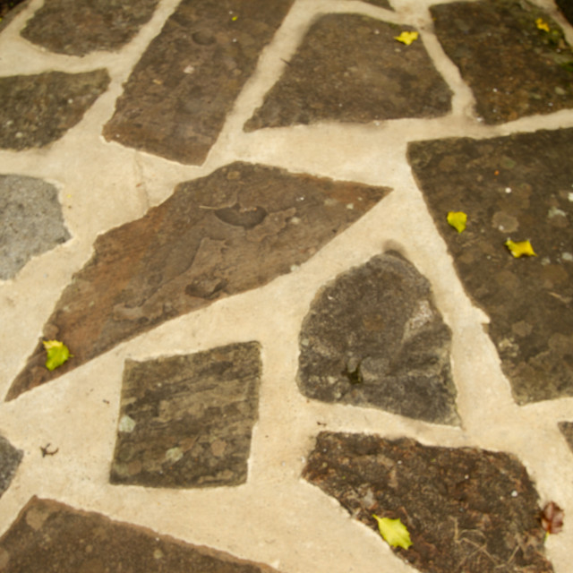 """Stone Crazy Paving in Kettlewell, Wharfedale,"" stock image"