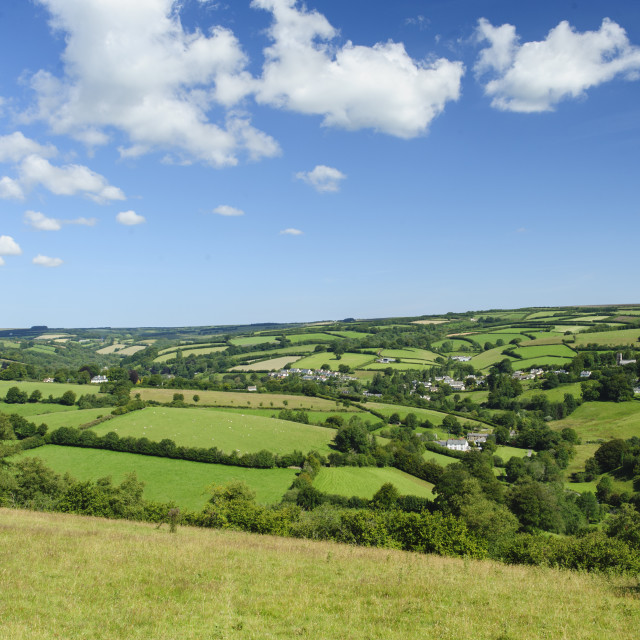 """Exmoor: Exford seen from Road Hill"" stock image"