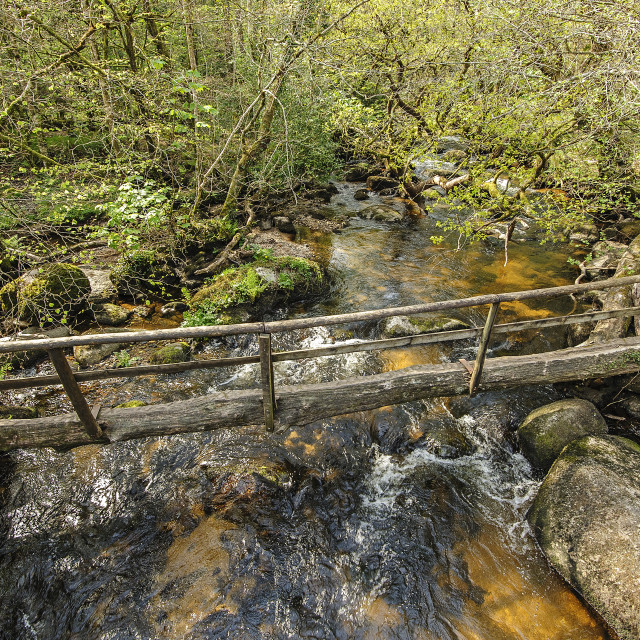 """Clam Bridge over the river Bovey, Dartmoor"" stock image"