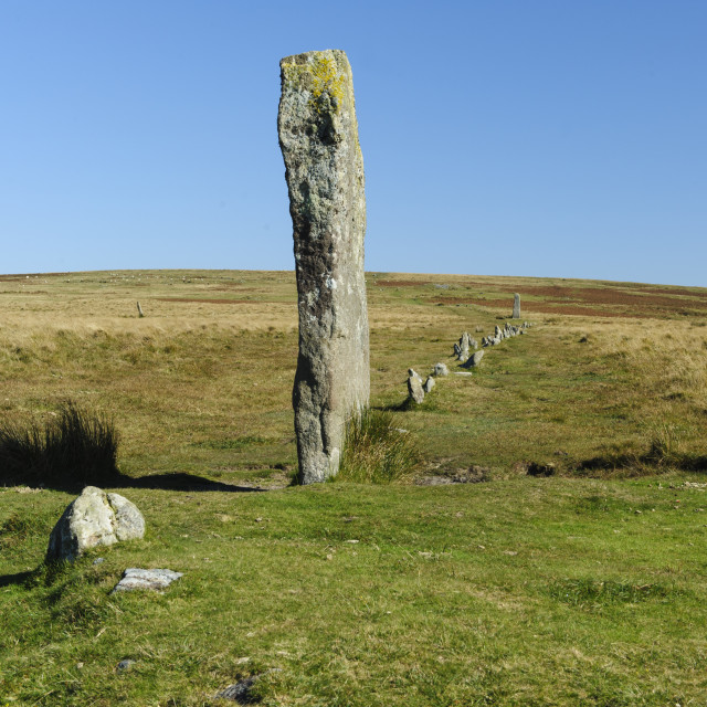 """Drizzlecombe Menhir and Stone Row, Dartmoor"" stock image"