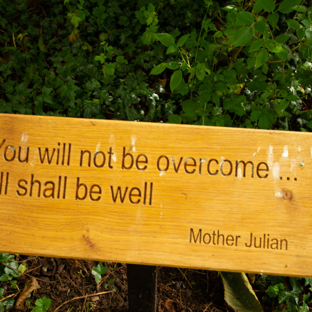 """St Mary's Church, Kettlewell. Yorkshire Dales.Religious Quotation by Mother Julian"" stock image"