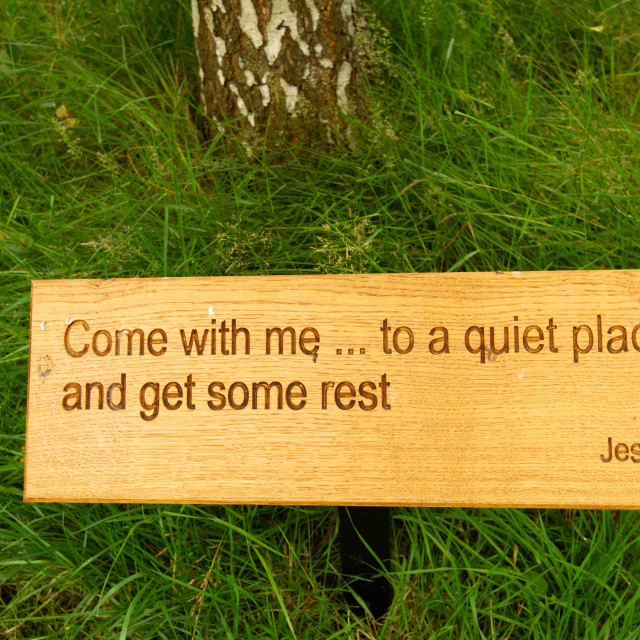 """""""St Mary's Church, Kettlewell. Religious Quotation from the Bible"""" stock image"""