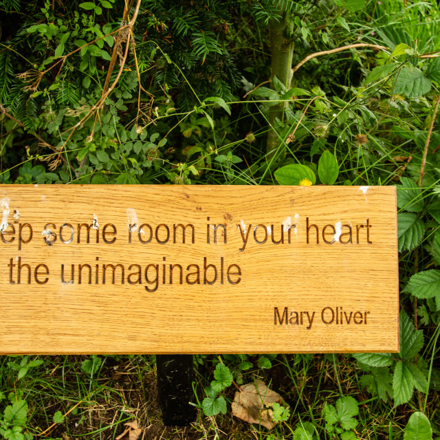 """St Mary's Church, Kettlewell. Quotation by Mary Oliver, an American Poet."" stock image"