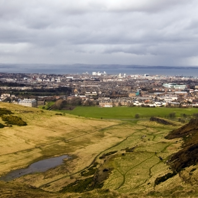 """Edinburgh from Arthur's Seat"" stock image"