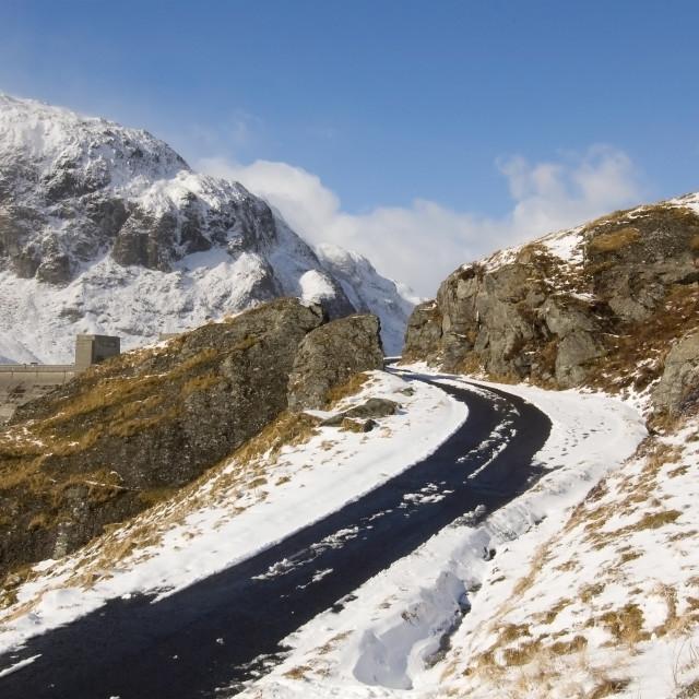 """Road between Lochan na Lairige and Ben Lawers"" stock image"