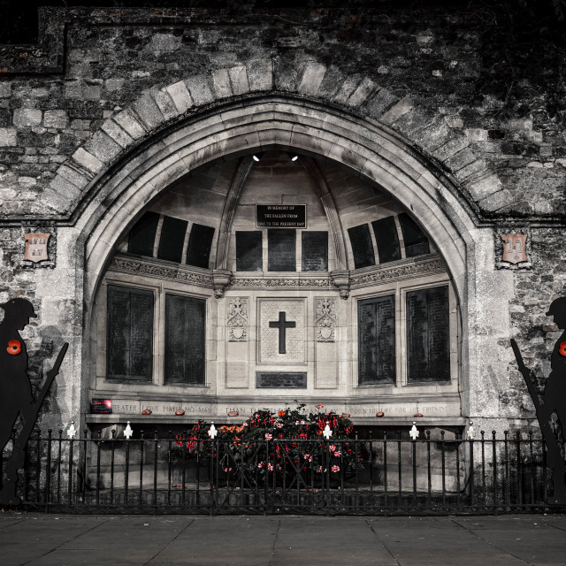 """""""Ely War Memorial in Black and Red."""" stock image"""
