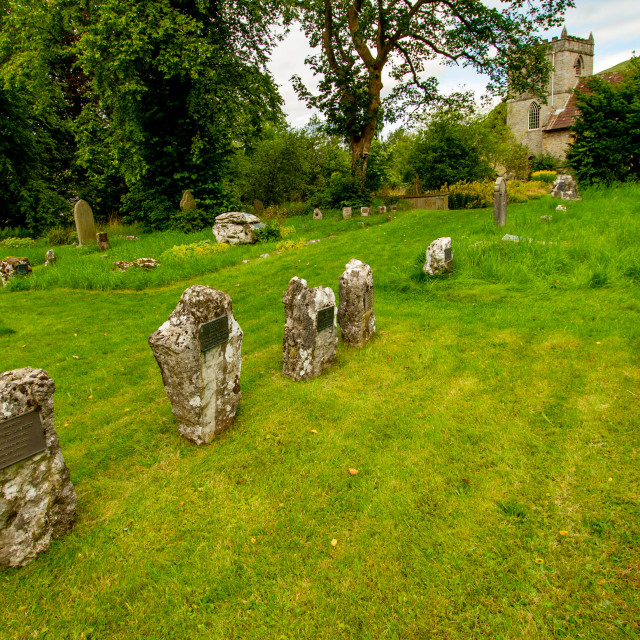 """""""St Mary's church, Churchyard. Headstones. Kettlewell,Yorkshire Dales."""" stock image"""