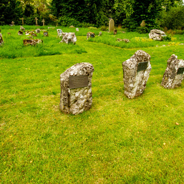 """""""St Mary's church, Churchyard Headstones, Kettlewell,Yorkshire Dales."""" stock image"""