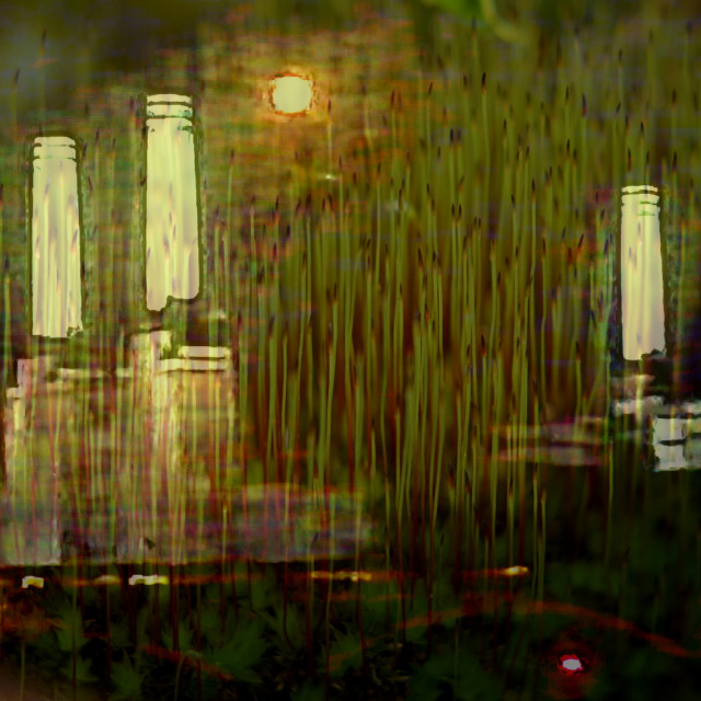 """Battersea power station hidden in moss grass"" stock image"