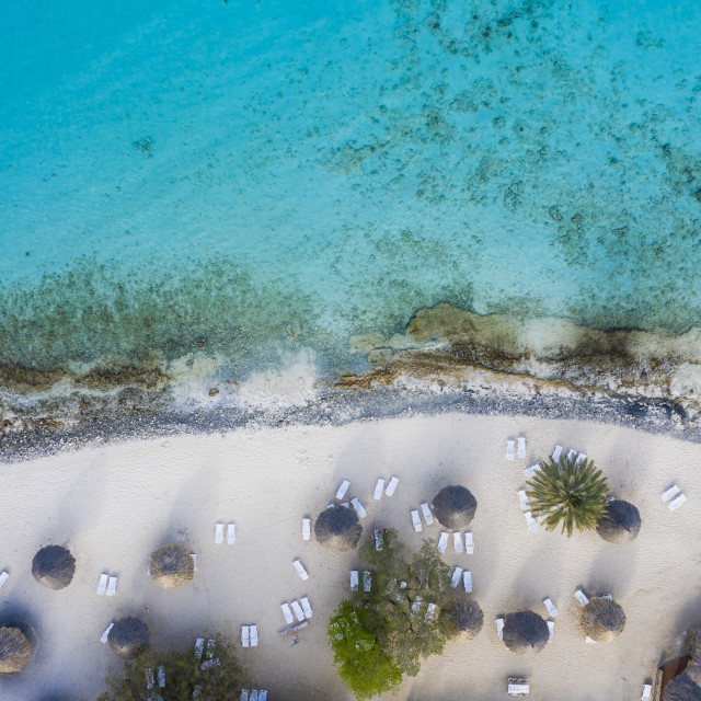 """""""Aerial view of coast of Curaçao in the Caribbean Sea with turquoise water, cliff, beach and beautiful coral reef around Sta. Martha Bay"""" stock image"""