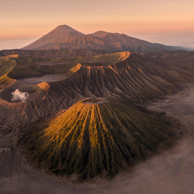 """""""Aerial drone image of Mount Bromo volcano"""" stock image"""