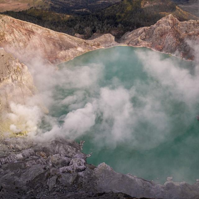 """Kaweh Ijen volcanic crater"" stock image"