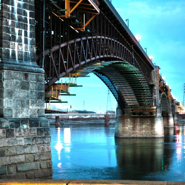 """Eads Bridge at St. Louis"" stock image"