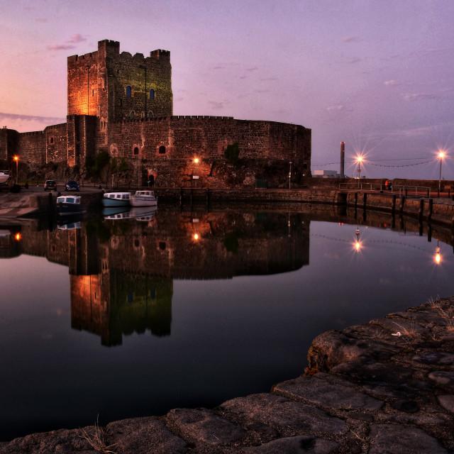 """Sunset at Carrickfergus Castle, County Antrim."" stock image"