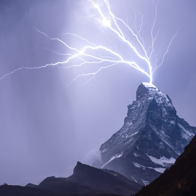 """Lightning on the Matterhorn"" stock image"