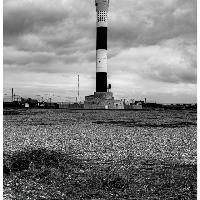 """""""Dungeness Lighthouse B&W"""" stock image"""