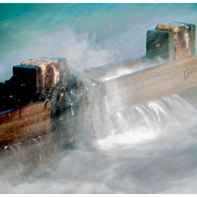 """""""Waves breaking on Grown"""" stock image"""