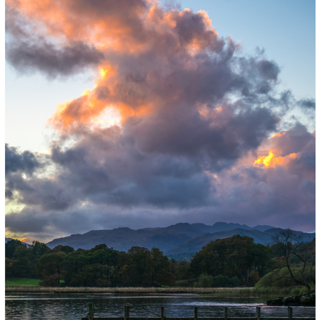 """""""Sunset Over Windermere"""" stock image"""