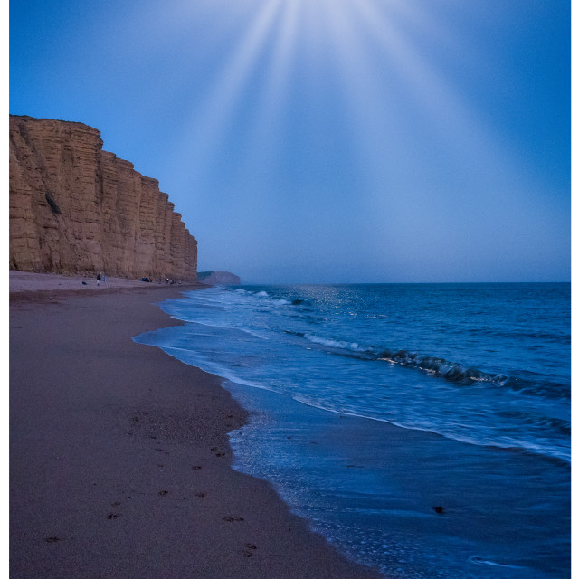 """""""Moon Over West Bay"""" stock image"""