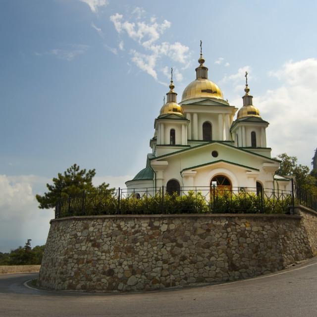 """Church on a Hill in Crimea, Ukraine"" stock image"