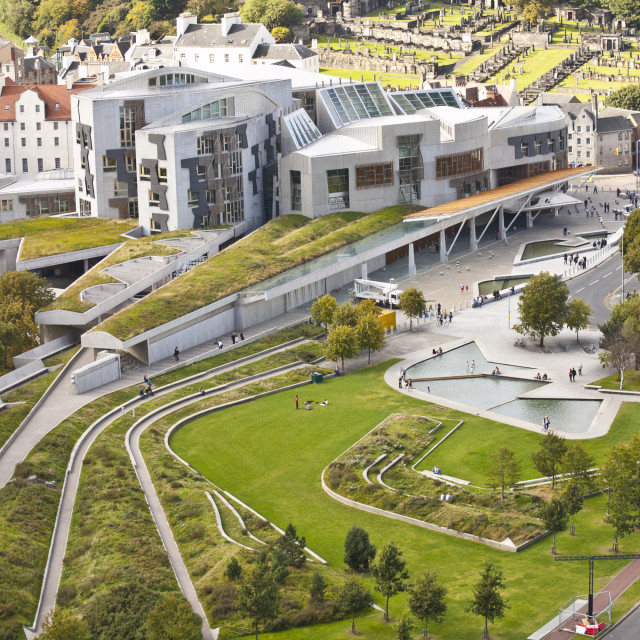 """Scottish Parliament - view from above"" stock image"