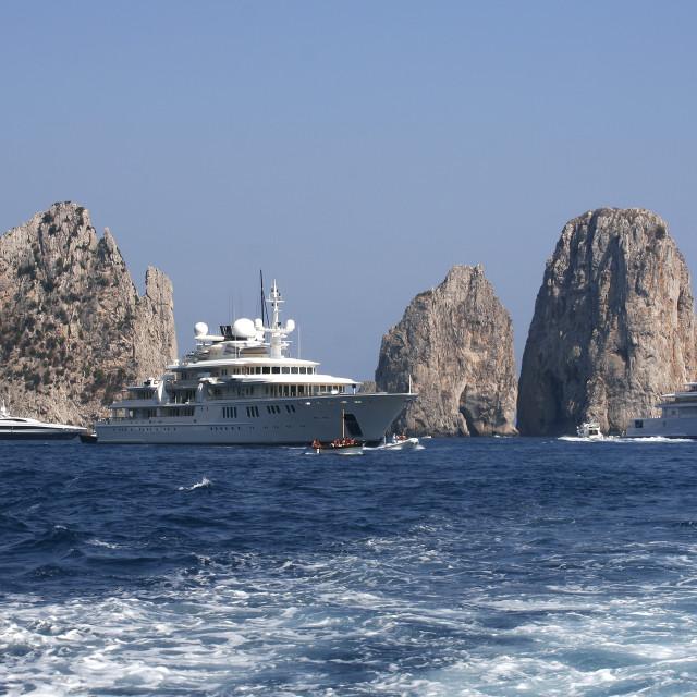 """Luxury Yachts off Capri, Italy"" stock image"