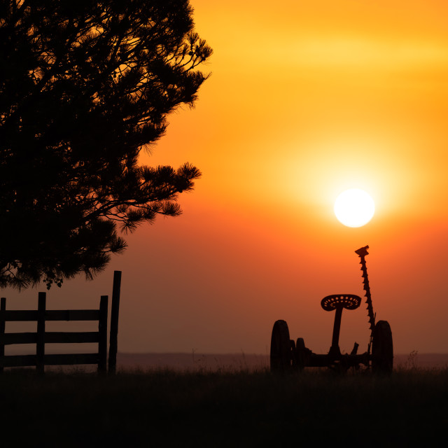 """Smokey Skies on a Farm"" stock image"
